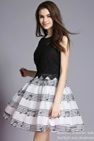 DRESS WANITA KOREA - Fake 2 pcs BlackDress