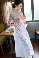 LONG DRESS CHEONGSAM 2018 - Blue Cheongsam