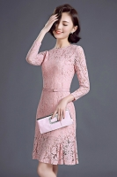 DRESS LACE KOREA - Pink Lace Korean