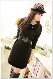 Black Long Sleeved Dress - BAJU BUSANA MUSLIM