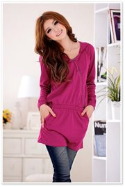 Red Hoddie Knitting Dress - BAJU IMPORT KOREA