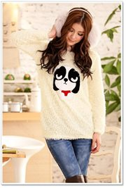 Beige Fur Sweater - BAJU KOREA STYLE