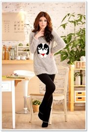 Gray Fur Sweater - BAJU KOREA STYLE