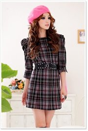 Black Wool cotton Britain Dress - BAJU IMPORT