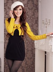 Yellow Simple Glamour Dress - BAJU BUTIK ONLINE