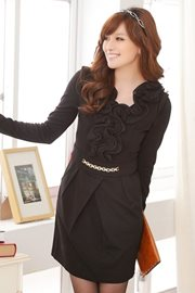 BAJU KOREA ASLI JK2 - Black Office Ladies Dress