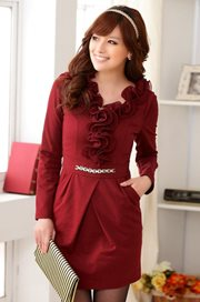 BAJU KOREA ASLI JK2 - Red Blossom Dress