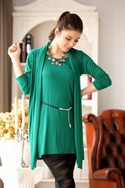 DRESS CANTIK KOREA - Green Dress n Belt