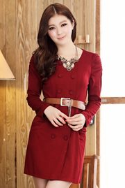 DRESS KOREA  LENGAN PANJANG - Red Long Sleeved Dre