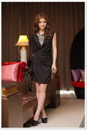 Black Simple chic Dress - BAJU IMPORT