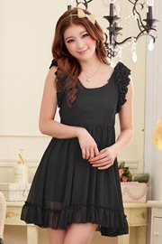 DRESS CANTIK KOREA STYLE - Black Chiffon Dress