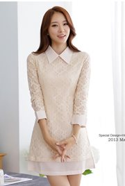 BAJU IMPORT KOREA STYLE - Apricot Lace Dress