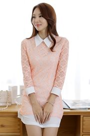BAJU IMPORT KOREA STYLE - PinkSalem Lace Dress