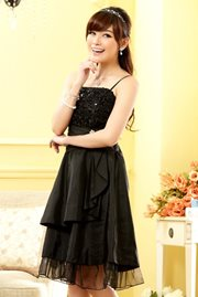 DRESS PESTA KOREA - Black Satin Party Dress
