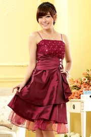 DRESS PESTA KOREA - Red Satin Party Dress