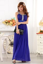 MAXI DRESS - Blue Elegant Party Dress