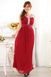 MAXI DRESS - Red Elegant Party Dress