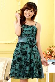 BAJU PESTA IMPORT KOREA STYLE - Green Satin Dress
