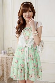DRESS CANTIK KOREA - Green Floral Dress