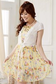 DRESS CANTIK KOREA - YellowFloral Dress