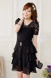 DRESS CANTIK KOREA - Black Glam Dress