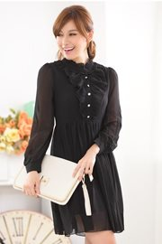 DRESS WANITA - Black Vintage Chiffon Dress