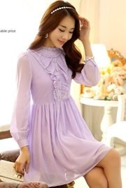 DRESS WANITA - Purple Vintage Chiffon Dress