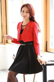 DRESS CANTIK WANITA - Black 2Pcs Big Size Dress