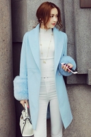 JAKET BULU WANITA KOREA - BIGSIZE Blue Winter Coat