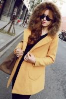JAKET BULU WANITA KOREA - Yellow Winter Long Coat