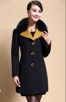 JAKET BULU BIG SIZE - Black Fur Worsted Wool Coat
