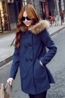 JAKET BULU WANITA KOREA - NavyBlue Winter Long