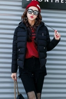 BLACK  HOODED DOWNCOAT -  Jaket Bulu Wanita