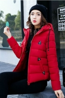 RED  HOODED DOWNCOAT -  Jaket Bulu Wanita