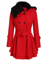JAKET BULU WANITA KOREA - Red Fur Coat