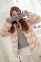 JAKET BULU WANITA KOREA - Pink Stripped Fur Coat
