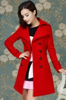 JAKET IMPORT WANITA - Red Woolen Long Coat