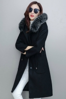 PREMIUM LONG COAT IMPORT - Black Fur HOODIE Winter Coat