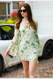 DRESS CANTIK KOREA - Fresh Green Chiffon Dress