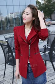 BLAZER WANITA KOREA - Red Zipper Blazer