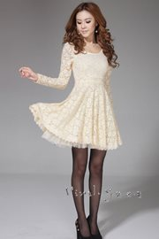 DRES LACE - Apricot elegant Lace Dress