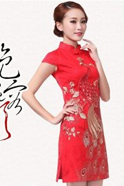 BAJU CHEONGSAM MODERN- SilverRed Cheongsam Dress