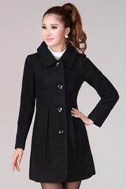 LONG COAT KOREA - Black Charming Woolen Coat