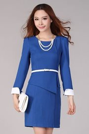 DRESS CANTIK - Blue Formal Dress (With Belt)