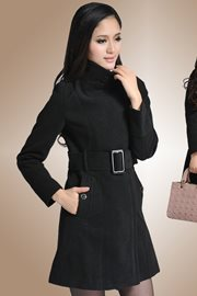 BAJU MUSIM DINGIN - Black Woolen Long Coat