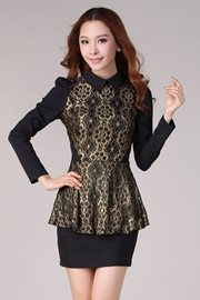 BAJU IMPORT KOREA - Black Golden Lace Dress
