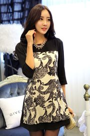 BAJU IMPORT KOREA - Black Linen Floral Dress