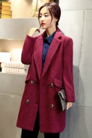 JAKET IMPORT KOREA - Mauve Woolen Long COAT
