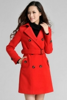 JAKET WANITA KOREA - RED KOREAN LONG COAT