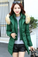 JAKET KOREA BIG SIZE - Green Fur Padded Jacket